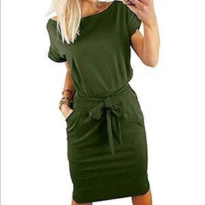 Dresses & Skirts - Cute Olive Green Cotton Dress